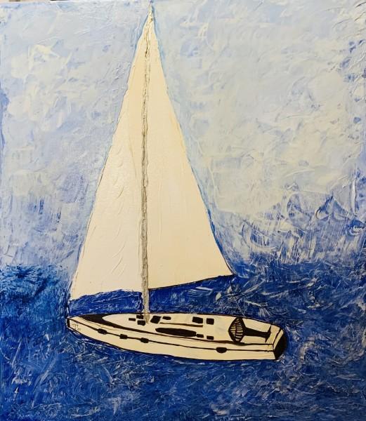 Segelboot blau weiss
