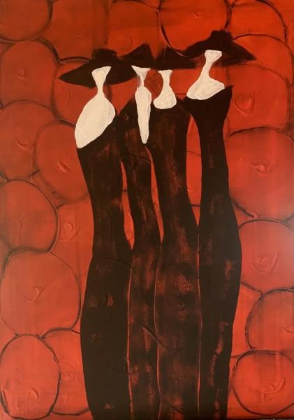Frauen in schwarz / rot